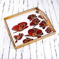 Reverse painted glass tray, 'Gleaming Poppies in White' - Reverse Painted Glass Tray with Poppy Motifs from Peru