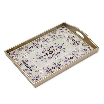 Reverse painted glass tray, 'Purple Buds' - Silver and Purple Reverse Painted Glass Tray from Peru