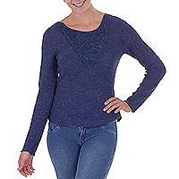 100% alpaca sweater, 'Forever Indigo' - Long Sleeved 100% Alpaca Indigo Pull Over Sweater from Peru