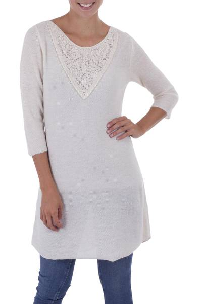 100% alpaca tunic, 'Bright Morning' - Cream 100% Alpaca Knit Tunic or Dress