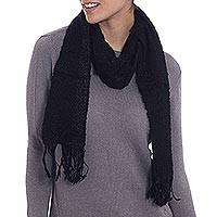 Alpaca blend scarf, 'Night Feeling' - Handwoven Textured Alpaca Blend Scarf in Black from Peru