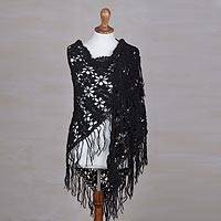 100% alpaca shawl, 'Poinsettias and Pinwheels' - Black Alpaca Shawl Hand Crocheted with Stars and Pinwheels