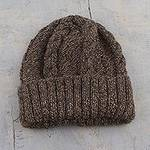 Alpaca Blend Hat Knit by Hand in Taupe Grey and Chestnut, 'Stay Together'