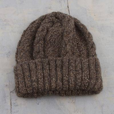 Alpaca blend hat, 'Stay Together' - Alpaca Blend Hat Knit by Hand in Taupe Grey and Chestnut