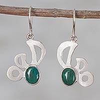 Chrysocolla dangle earrings, 'Angelic Green' - Chrysocolla and Sterling Silver Dangle Earrings from Peru