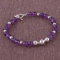 Amethyst beaded bracelet, 'Violet Orbs' - Amethyst and Sterling Silver Beaded Bracelet from Peru