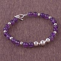 Amethyst beaded bracelet, 'Violet Orbs'