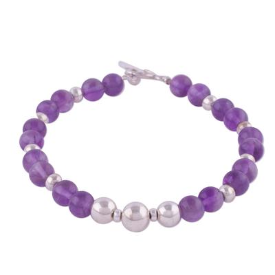 Amethyst beaded bracelet, 'Violet Orbs' - Amethyst and Sterling Silver Beaded Bracelet from Peru