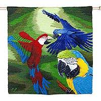 Wool tapestry, 'Macaws in the Jungle' - Handwoven Wool Macaw Bird Theme Tapestry from Peru