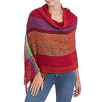 Alpaca blend shawl, 'Crimson Rainbow' - Handwoven Alpaca Blend Shawl with Multicolored Stripes