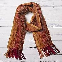 Alpaca blend scarf, 'Sunset Love' - Handwoven Fringed Alpaca Blend Scarf with Stripes from Peru