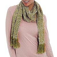 Alpaca blend scarf, 'Dreamy Olive' - Alpaca Blend Scarf in Light Olive and Saffron from Peru