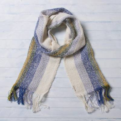 Alpaca blend scarf, 'Colorful Melody' - Alpaca Blend Scarf in Chartreuse and Caribbean Blue