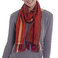 100% alpaca scarf, 'Wonderful Sunset' - Handwoven Striped Alpaca Scarf in Crimson and Tangerine