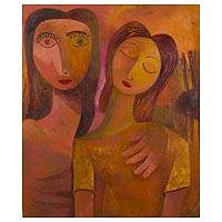 'Happiness II' - Signed Original Mother Daughter Painting in Warm Colors