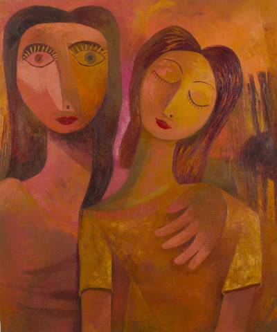 Hiness Ii Signed Original Mother Daughter Painting In Warm Colors