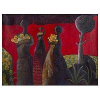 'Walking in the Garden' - Signed Expressionist Painting of Women with Flowers