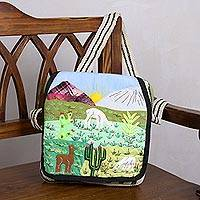 Wool patchwork messenger bag, 'Marvelous Andes' - Cotton Accent Wool Patchwork Messenger Bag from Peru