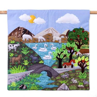 Cotton blend patchwork wall hanging, 'Lakeside Village' - Cotton Blend Patchwork Wall Hanging of Peruvian Scene