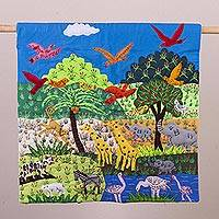Cotton blend patchwork wall hanging, 'Animals in the Jungle' - Cotton Blend Nature Themed Patchwork Wall Hanging from Peru