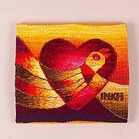 Alpaca blend tapestry, 'Love's Flight' - Hand Woven Signed Alpaca Blend Bird Tapestry from Peru