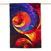 Alpaca blend tapestry, 'Sacred Multicolor' - Handwoven Alpaca Blend Abstract Tapestry from Peru