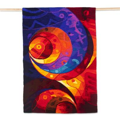 Handwoven Alpaca Blend Abstract Tapestry from Peru