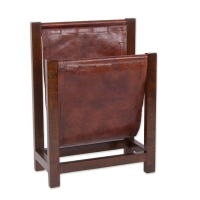 Cedar and leather magazine holder, 'Vintage Memory' - Cedar Wood and Leather Magazine Holder from Peru