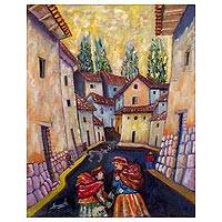 'Andean Scene' - Signed Cultural Cityscape Expressionist Painting from Peru