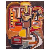 'Faces II' - Signed Cubist Painting of Three Faces from Peru