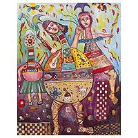 'Hunters' - Signed Cultural Cubist Painting of Warriors from Peru