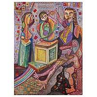 'Parental Love' - Signed Colorful Cubist Painting of a Family from Peru