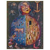 'Phytomorph' - Signed Cubist Painting of a Person with Animals from Peru