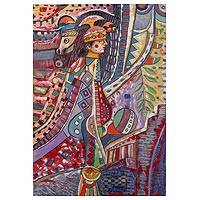 'Pre-Hispanic Warrior' - Signed Cultural Cubist Painting of a Warrior from Peru