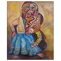 'Couple's Love' - Signed Colorful Cubist Painting of a Couple from Peru