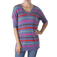 Alpaca blend sweater, 'Pleasure of Periwinkle' - Striped Periwinkle Alpaca Blend Sweater from Peru