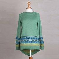 Alpaca blend high-low pullover sweater, 'Aquamarine Dream'