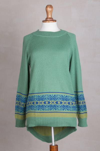 Alpaca blend high-low pullover sweater, 'Aquamarine Dream' - Aquamarine Alpaca Blend High-Low Sweater from Peru