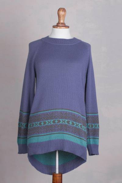 Alpaca blend high-low pullover sweater, 'Periwinkle Dream' - Peruvian Alpaca Blend High-Low Patterned Sweater