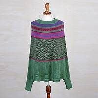 Alpaca blend poncho sweater, 'Jade Leaves'