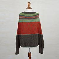 Alpaca blend poncho sweater, 'Vermilion Leaves'