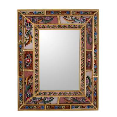 Reverse painted glass wall mirror, 'Vibrant Enchantment' - Reverse Painted Glass Floral Motif Mirror from Peru