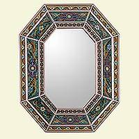 Reverse painted glass wall mirror, 'Floral Vision' - Reverse Painted Glass Mirror with Floral Motifs from Peru
