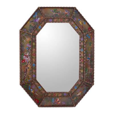 Reverse painted glass wall mirror, 'Bird Land in Bronze' - Reverse Painted Glass Floral Bird Motif Mirror from Peru