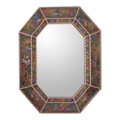 Reverse painted glass wall mirror, 'Bird Land in Gold' - Reverse Painted Glass Floral Bird Wall Mirror from Peru
