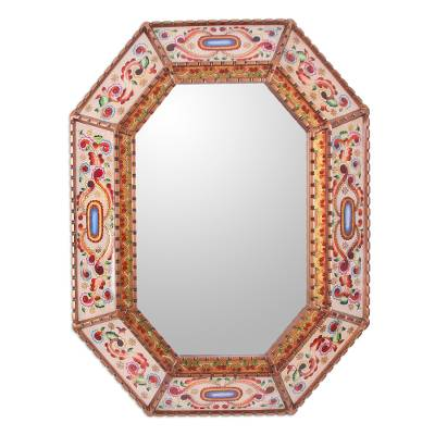 Reverse painted glass wall mirror, 'Colonial Enchantment' - Reverse Painted Glass Mirror with Floral Motifs from Peru