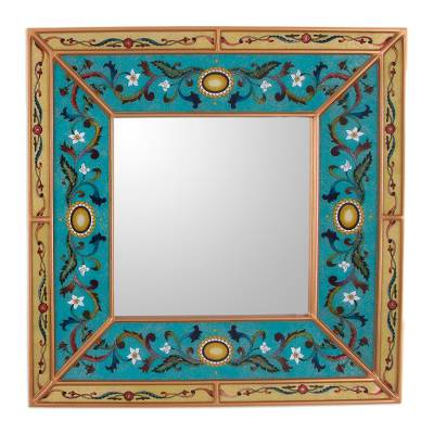 Reverse painted glass wall mirror, 'Sweet Teal' - Reverse Painted Glass Mirror with Teal Floral Motifs