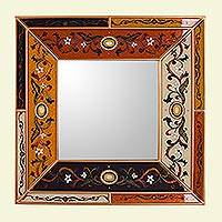 Reverse painted glass wall mirror, 'Colonial Voyage in Gold' - Reverse Painted Glass Mirror with Multicolored Floral Motifs