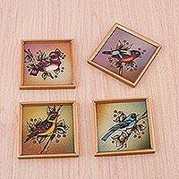 Reverse painted glass coasters, 'Avian Companions' (set of 4) - Four Reverse Painted Glass Bird-Themed Coasters from Peru