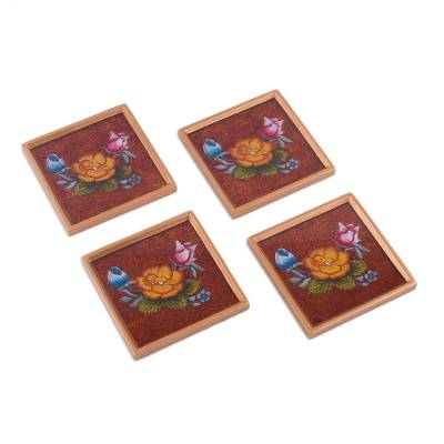 Reverse painted glass coasters, 'Floral Bunch' (set of 4) - Reverse Painted Glass Coasters with Flowers from Peru